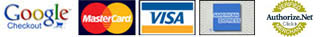 Visa, Mastercard, Google Checkout, Bank of America, Discover accepted